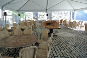 Always be sure tables and chairs are well spaced so guests and wait staff can walk around the area easily.