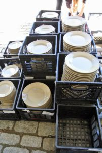 I chose tan plates, similar to drabware, for our table settings.