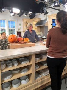 "For this Halloween Facebook LIVE, we decorated our Martha Stewart Living ""Turkey Hill Kitchen"" at my New York City office. We filled it with lots of decorated pumpkins. http://www.homedepot.com/c/SPC_BRD_MSL_Kitchen"