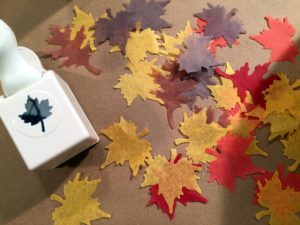 We have fun craft punches at Michaels too and you can cut out leaves like these in different colored tissue paper.