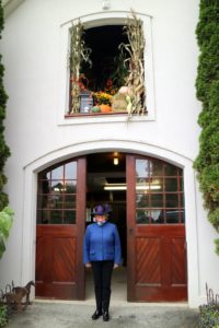 Here is Mary Waller in front of the Orleton Farm Stable.