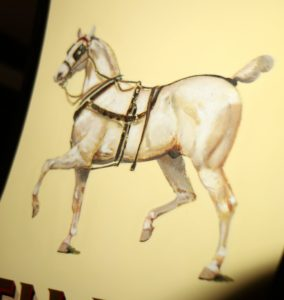 This is the original art work of Lynwood Palmer painted in 1908 on the panels of the Old Times. It was of Alfred G. Vanderbuilt's favorite coach horse.