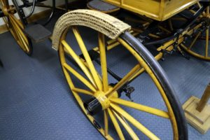 The Waller collection also includes this straw cover - used so the ladies entering the carriage would not soil their dresses from the dirt off the wheel. It would be carried on the floor of the carriage when not in use.