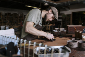 Peg + Awl is a small family-owned business in  Philadelphia, Pennsylvania. The work is made from old things, treasures found and recovered from misfortune and neglect, relics of the unusual, rebuilt into curiosities, keepsakes and useable, longlasting treasures. http://pegandawlbuilt.com