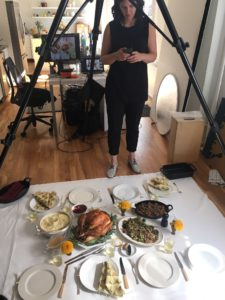 This is a behind the scenes image of our Martha & Marley Spoon Thanksgiving photoshoot - look at all you get from our special Thanksgiving box!