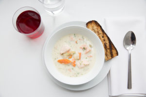 We also wanted to serve salmon from Loki Fish Company, one of this year's American Made winners, so I asked my friend, Chef Pierre Schaedelin from PS Tailored Events, to make this delicious creamy chowder using their fresh salmon. (Photo by Mike Krautter) http://www.lokifish.com/