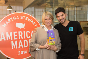 Here I am with Alejandro. This cereal is one of newest ventures for Back to the Roots and Sodexo. The product will be included in 4300 schools nationwide. (Photo by Mike Krautter) https://backtotheroots.com