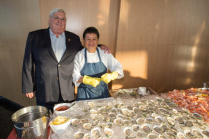 This is Jeff Gardner, owner of Watch Hill Oysters from Winnapaug Pond, near Westerly, Rhode Island. These oysters were a huge hit. Thanks to the Grand Central Oyster bar, who also helped orchestrate this delicious feast. The oysters were served with mignonette and cocktail sauce. Next to the oysters - True North Shrimp cocktail - so fresh and good! (Photo by Mike Krautter)