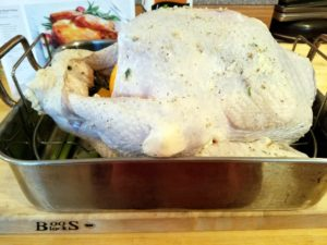 Here's the turkey before it went into the oven.