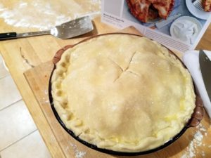 Adriana's apple pie is ready for the oven.