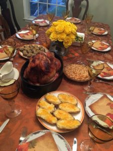 Associate holiday designer, Claire Basile, shared what was on the dinner table at her mom's home - the turkey, twice baked potatoes (a favorite), sweet potato pie, and stuffed mushrooms.