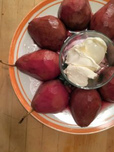 Claire shows her red wine poached pears that she tried for the first time, with mascarpone cheese. Claire says they were so sweet and good!