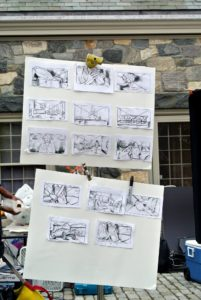 These are the storyboards for the shoot - a group of illustrations that summarize all the various shots required.
