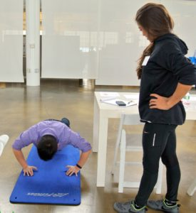 SL Fitness offered a free one-year membership to the one who could complete the most push-ups in 30-seconds. IT Senior Director of Desktop Services, Angus Chen, was one of the first to try.