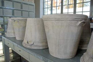 Guy Wolff delivered more than two-dozen gorgeous gray pots - these are the largest, each weighing more than 55-pounds.