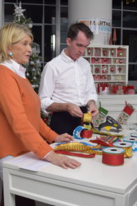 Here, Kevin and I show how to make a garland out of pieces of ribbon. It's a chain garland, similar to the ones we all made as children out of construction paper. Just use strips of ribbon to make the loops of the chain.