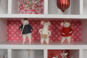 Here in my Home Decorators Collection Craft Space Apothecary Hutch, we hung these whimsical mouse ornaments - so cute. And, I love using the 3M Command hooks to display them - the hooks can be removed after the holiday. goo.gl/Td1v52