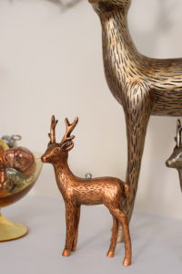 These are our Etched Deer Figurines from Home Depurators Collection. The elegant mocha finish and striking details give the deer sophisticated charm.