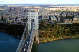 Here is the famous George Washington Bridge - a double-decked suspension bridge spanning the Hudson River between Manhattan and Fort Lee, New Jersey. It carries more than 106-million vehicles per year.
