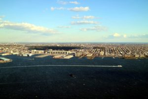 This is Red Hook, Brooklyn - named for the red clay soil and the point of land extending into the Upper New York Bay. It was first settled by Dutch colonists in 1636. Red Hook is the only part of New York City that has a full frontal view of the Statue of Liberty.