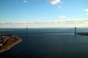 The Verrazano–Narrows Bridge is a double-decked suspension bridge that connects the New York City boroughs of Staten Island and Brooklyn.