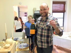 """This is our friend, Dan, who brought over a magnum of Veuve Clicquot champagne for all of our guests to enjoy."""