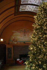 Each year the Frank Lloyd Wright Trust celebrates the holiday season, decorating the Home and Studio as the Wright family originally did in the early 1900s. A substantial 12-foot tree is displayed in the Children's Playroom.