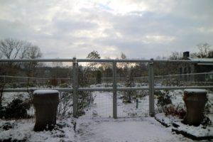 At the flower garden, the fencing looks so wonderful coated in white as the sunlight peeks through the clouds.