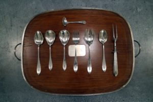 This is a very special eight-piece hostess serving set. It was designed around the same time Skylands was, and the beautiful tray underneath was a gift from my dear friends Memrie Lewis and Charlotte Beers some years ago.