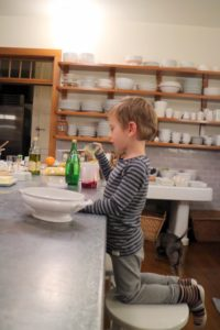 Both my grandchildren are great helpers in the kitchen. Truman loved to help taste test dishes as they were prepared.