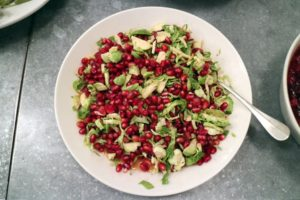 We prepared many of our sides from the Martha & Marley Spoon Thanksgiving meal kit. Here is our Roasted Brussels Sprouts and Pomegranate Salad. This recipe calls for both roasted and raw Brussels for a mix of texture and taste.