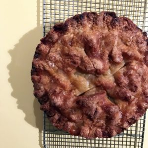 """Ellen Morrissey, our editorial director for special projects, and her husband, Colin, made this pie from the Martha & Marley Spoon Thanksgiving meal box. She says, """"it was fantastic and I loved having all the ingredients measured and waiting for me when I arrived at our Thanksgiving destination Wednesday night."""""""