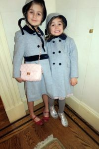 Jessica's daughters, Sophia Bird and Indigo, are all dressed up and ready to go.