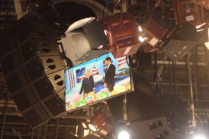 The studio is equipped with lots of monitors, so everyone can have a clear view of the show. (Photo by Laura Manzano)