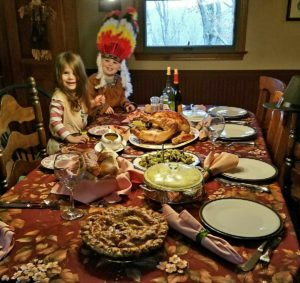 "Jaime Cassavechia from our corporate communications team sent this photo of her oldest son, Connor, and his cousin Neela, who helped set the Thanksgiving table. They dressed as Native Americans - a new tradition in their home now that there are grandkids. The entire family helped prepare the Martha & Marley Spoon Thanksgiving meal, and it was a big hit! ""The roasted Brussels sprouts was the standout side dish."""