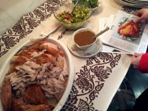 """Senior designer, Akira Yoshimura, shares these snapshots of the delicious Martha & Marley Spoon Thanksgiving dinner enjoyed at a friend's home. The entire group found the turkey and stuffingjuicy and amazingly delicious. """"The Brussels sproutswith pomegranate salad had great freshness and everyone loved it!"""""""