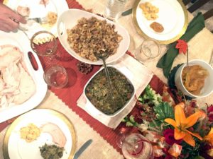 Samantha and her family had two types of stuffing – regular and gluten free.