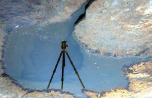 This is a reflection of Dr. Knapp's tripod in the water.