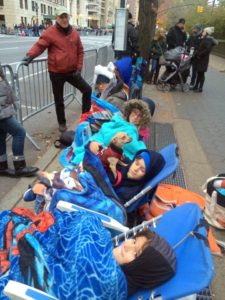 """Anduin spent the holiday in New York City - """"we got to the Macy's Thanksgiving Day parade route early and the kids all bundled up."""""""