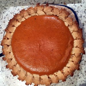 Anduin Havens, our director of design, sent images of her beautiful pies. Tthis is the pumpkin pie.