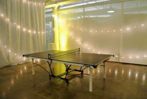 In one corner, we set-up a ping pong table.