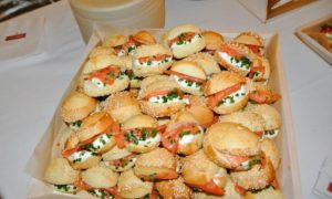 Here are the smoked salmon mini sandwiches.