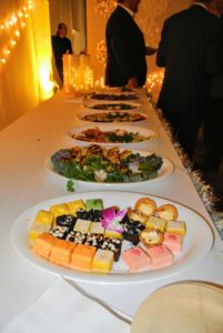 We also had bites from Foremost Ram Caterers - they provided smoked salmon Napoleon, grilled vegetable & tofu kabobs, Thai steak sticks, miso glazed chicken cucumber cups and Peking duck rolls. http://www.foremostcaterers.com/#home1