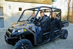 Polaris dealer, Rob Herman, delivered our new Polaris Ranger Crew 1000. It is among the newest models available with 80 horsepower - one of the most powerful in its class. Here, Rob lets Mike sit at the wheel.