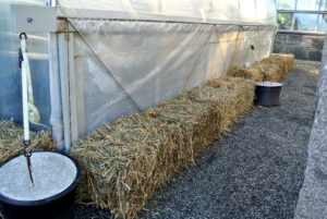 Bales of hay are lined up around every hoop house to provide a little insulation especially where drafts are possible.
