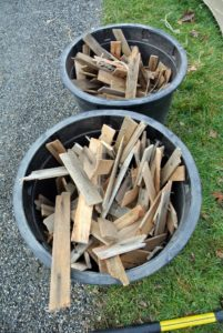 All the wooden stakes, strips and shims were milled at the farm, and get reused from year to year whenever possible. Even scraps of wood can be repurposed for various projects.