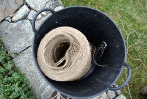 To sew the burlap, we use jute twine - the same twine we use for so many of our outdoor projects. I love using jute twine around the farm - it is 100-percent bio-degradable and recyclable.