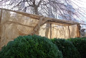 One side of burlap is pulled over the frame. These frames are very strong and hold the burlap secure all season long.