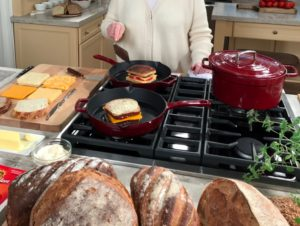 How do you stack your grilled cheese? I like to use three pieces of cheese, but watch the show for my special tip to prevent the tomatoes from making the grilled cheese soggy. I am using my favorite Enameled Cast Iron Pots. This deep cranberry is so popular, but they come in several different colors. They're available exclusively at Macy's and make great holiday gifts. goo.gl/L4KuDR
