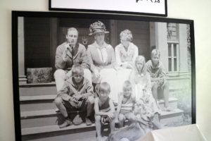 Here is a family photo showing FDR, his mother, Sara Delano Roosevelt, his wife, Eleanor, and the children - James, Elliott, FDR Jr., John and Anna in front of the 34-room residence.